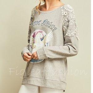 Boho Lace Graphic Sweatshirt